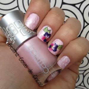 Manicura Rosa con flores (water decals)